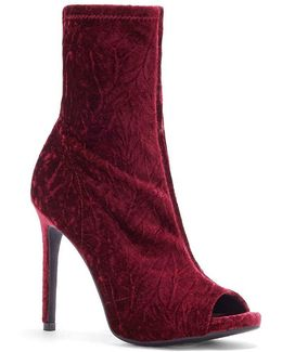 Rainer Velvet Open Toe Booties