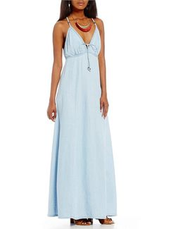 Denim V-neck Tie-front Maxi Dress