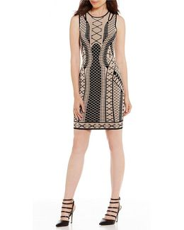 Clara Jacquard Cutout Shoulder Sheath Dress