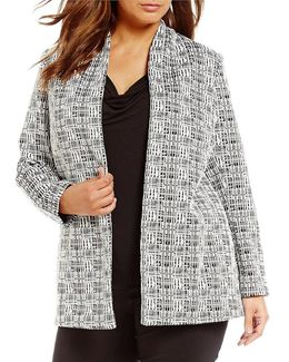 Plus Open Front Printed Jacket