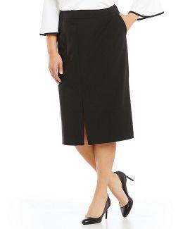Plus Straight Midi Skirt