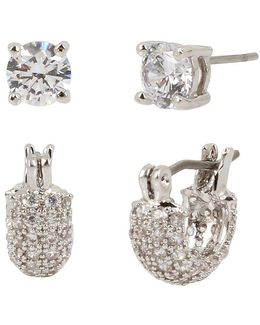 Pave Huggie Hoop & Crystal Stud Earrings Set