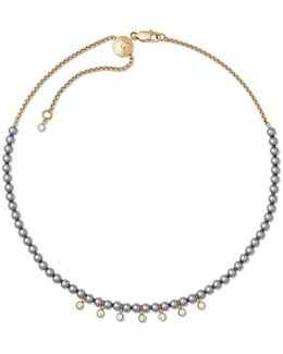 Modern Classic Faux-pearl & Crystal Slider Choker Necklace
