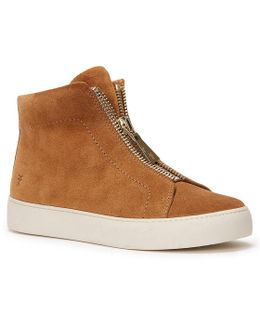 Lena Zip High Top Suede Sneakers