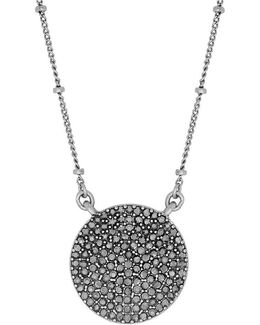 Necklace, Silver-tone Pave Crystal Necklace