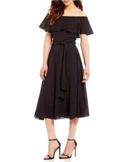 Georgette Off-the-shoulder Belted A-line Dress