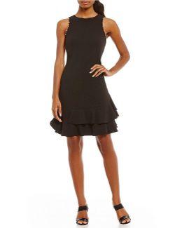 Stud Trim Ruffle Flounce Hem A-line Dress