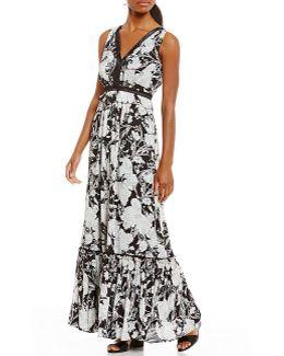 Georgette Floral Print Tiered Ruffle Hem Maxi Dress