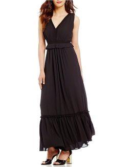 Georgette Tiered Ruffle Hem Maxi Dress