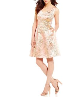 Metallic Floral Jacquard Sweetheart Neck Fit-and-flare Dress