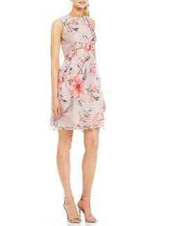 Floral Print Organza Fit-and-flare Dress