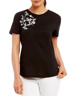 Embroidered Knit Jersey Tee