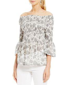 Off-the-shoulder Smocked Floral Print Bell Sleeve Top