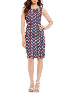 Embroidered Denim Sheath Dress