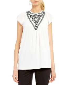 Flutter Cap Sleeve Embroidered Knit Jersey Top
