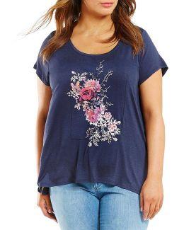 Plus Knit Graphic Print Lavender Tee