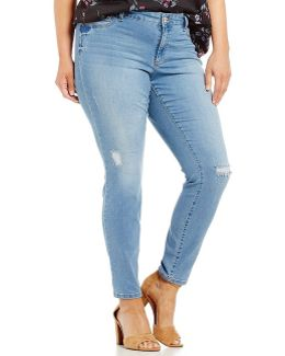 Plus Distressed Kiss Me Super Skinny Jeans