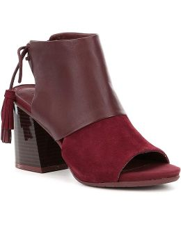 Reach The Stars Lace-up Suede Block Heel Booties