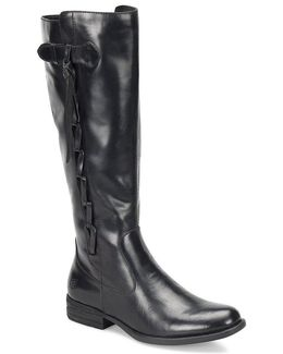 Cook Wide Shaft Leather Tall Boots