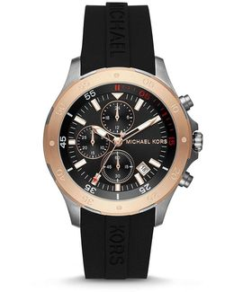 Walsh Rose Gold-tone And Black Silicone Strap Chronograph Watch