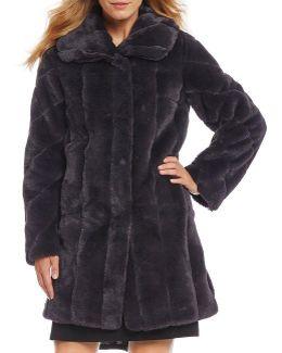 Shawl Collar Faux Fur Walker Coat