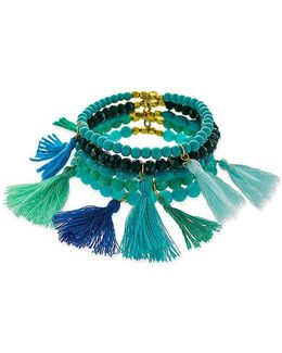 Reconstituted Turquoise Beaded Stretch Bracelet