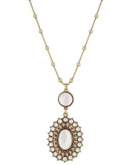 Squash Blossom Crystal & Mother-of-pearl Pendant Necklace