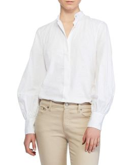 Bishop-sleeve Cotton Shirt