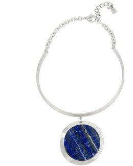 Semiprecious Lapis Stone Pendant Collar Necklace