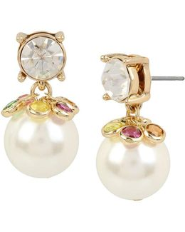 Shaky Stone & Faux-pearl Drop Earrings