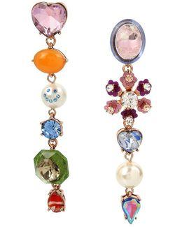 Multi-charm Mismatched Linear Drop Earrings