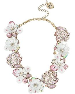 Flower & Stone Cluster Frontal Necklace