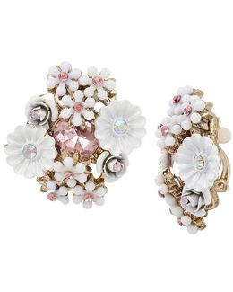 Flower Cluster Button Stud Clip-on Earrings