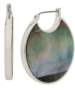Black And White Mother Of Pearl Hoop Earrings