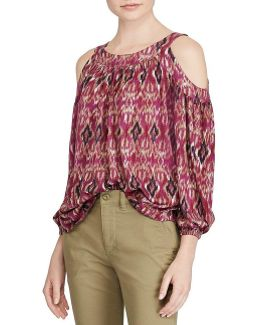 Petite Ikat-print Cutout-shoulder Top