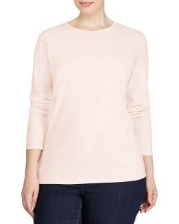 Plus Long-sleeve Stretch Cotton T-shirt