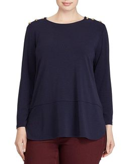 Plus Button-shoulder Jersey Top