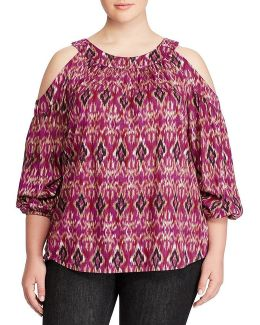 Plus Ikat Print Cold Shoulder Top