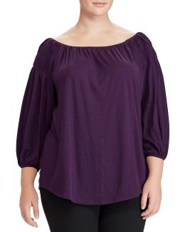Plus Smocked Off-the-shoulder Top