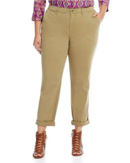 Plus Stretch Cotton Straight Pant