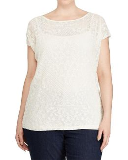 Plus Embroidered Sheer Top