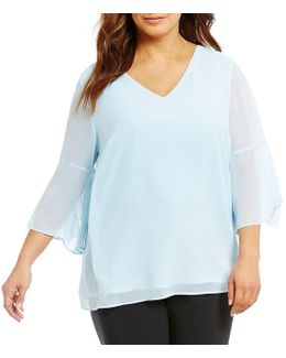 Plus V-neck Flutter Sleeve Top