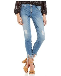 Destructed Kiss Me Vintage Frayed Hem Ankle Skinny Jeans