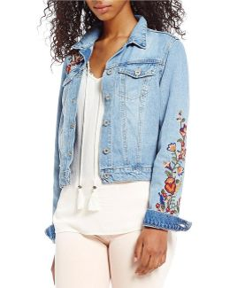 Pixie Embroidered Long Sleeve Denim Jacket
