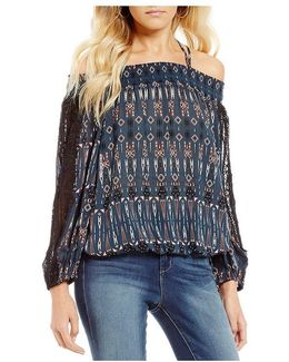 Leticia Printed Off-the-shoulder Peasant Top