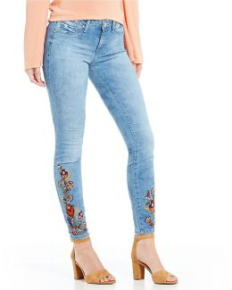 Kiss Me Embroidered Super Skinny Jeans