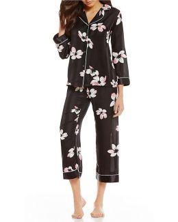 Pink Label Floral-print Satin Pajamas