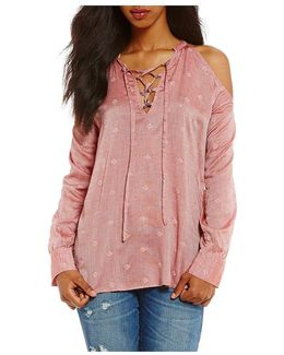 Cyrus Printed Lace-up Cold-shoulder Top