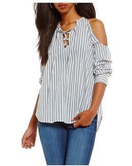 Cyrus Striped Lace-up Cold-shoulder Top