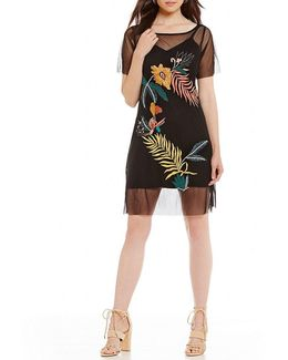 Jimena Embroidered Mesh A-line Dress